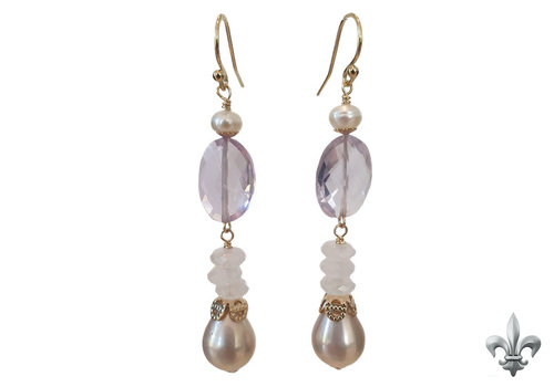 CLASSIC COLLECTION Purple white earring