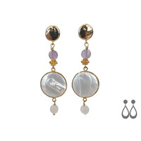 Earrings with Pearl, Light Amethyst and Moonstone