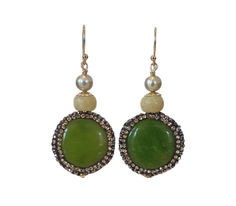 Earrings with Pearl, Jade, Agate and Markasite