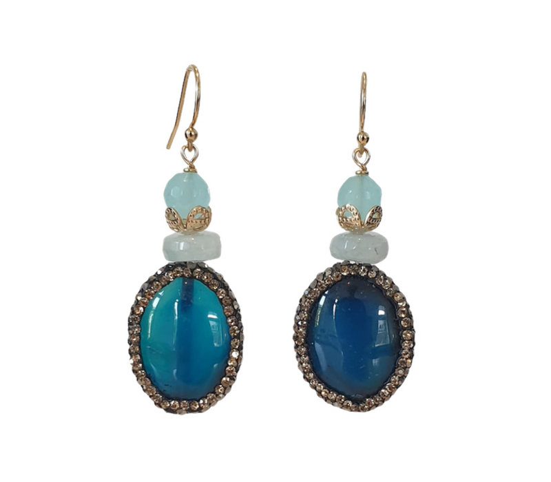 Earrings with Chacedony, Agate, Aquamarine and Makasite