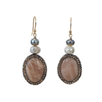 Earrings with Pearl, Mother of Pearl, Moonstone and Marcasite