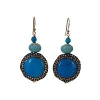 Earrings with Agate, Aquamarine and Makasite