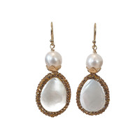 Earrings with Pearl, Mother of Pearl and Marcasite