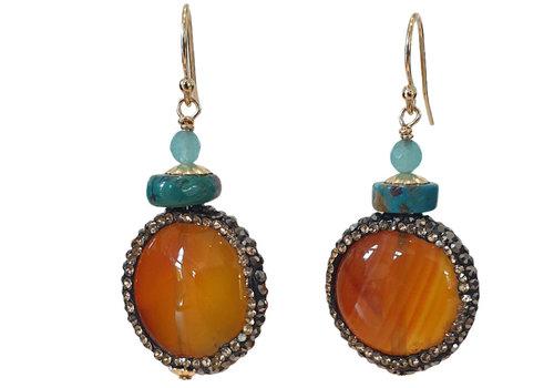 CLASSIC COLLECTION Orange, Aqua Earring