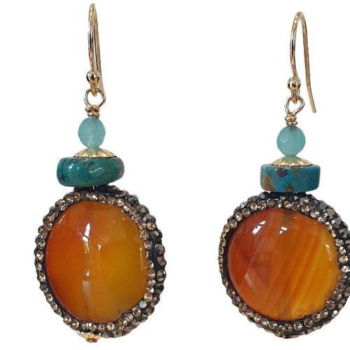 Orange, Aqua Earring