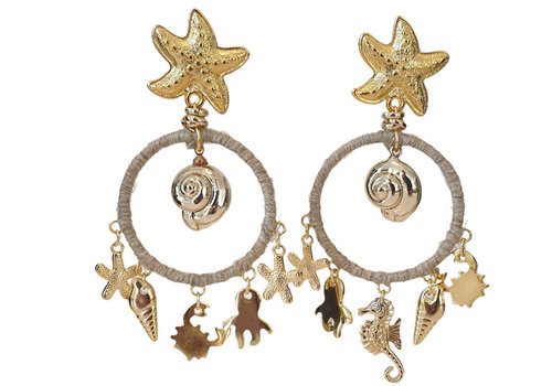 CLASSIC COLLECTION Gold, Beige earring