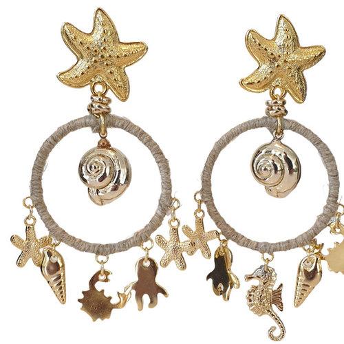 Gold, Beige earring