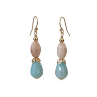 Earrings with Moonstone and Amazonite