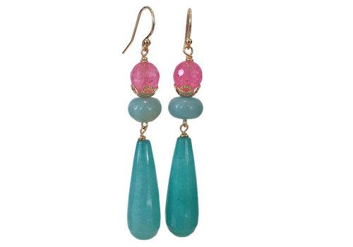 CLASSIC COLLECTION Aqua, Pink earring