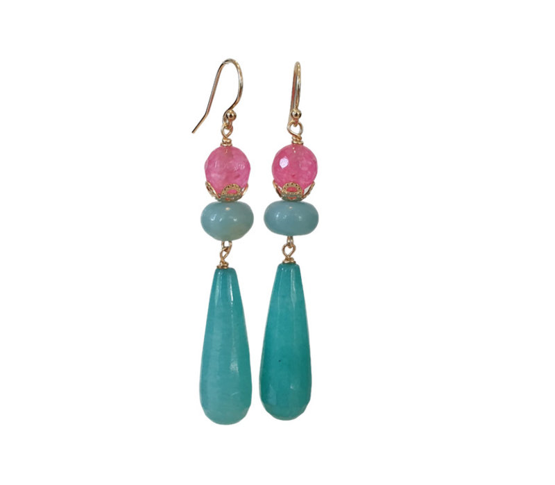 Earrings with Agate and Amazonite