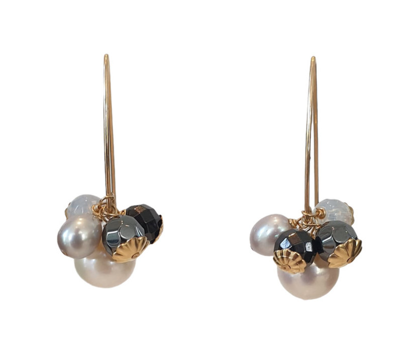 Earrings with Pearl, Hematite, Opalite and Spinel