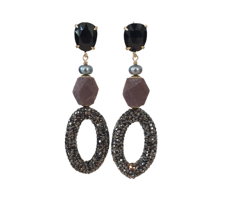 Earrings with Cat's Eye, Pearl, Burnt Ruby and Markasite