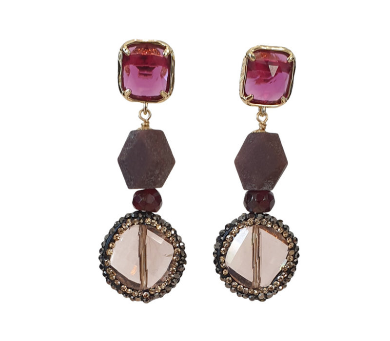Earrings with Cat's Eye, Burnt Ruby, Garnet, Crystal and Markasite