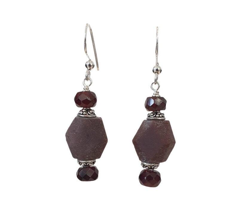 Earrings with Burnt Ruby and Garnet