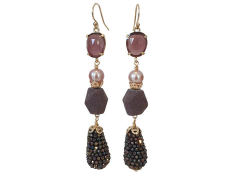 CLASSIC COLLECTION Purple, Black, Brown Earring