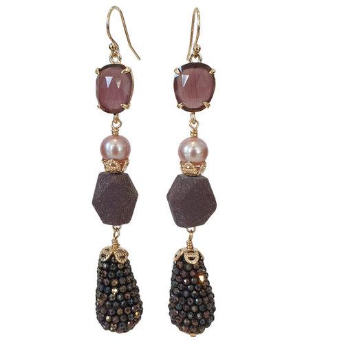 Purple, Black, Brown Earring