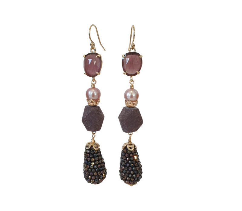 Earrings with Cat's Eye, Pearl, Burnt Ruby and Spinel with coating
