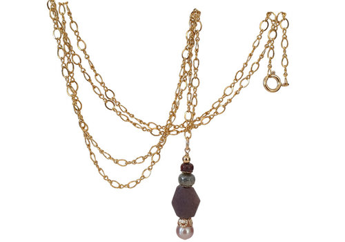 CLASSIC COLLECTION Paars, bruin, witte ketting