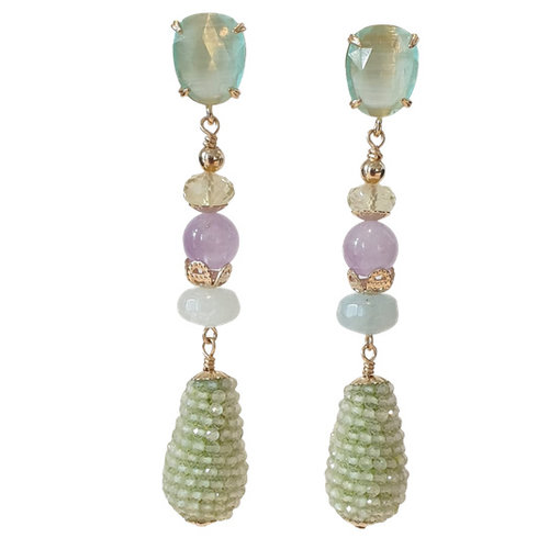 Green, Purple earring