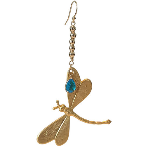 A gold, blue statement earring
