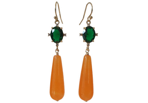 TREND COLLECTION Green, orange earrings