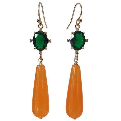 Green, orange earrings