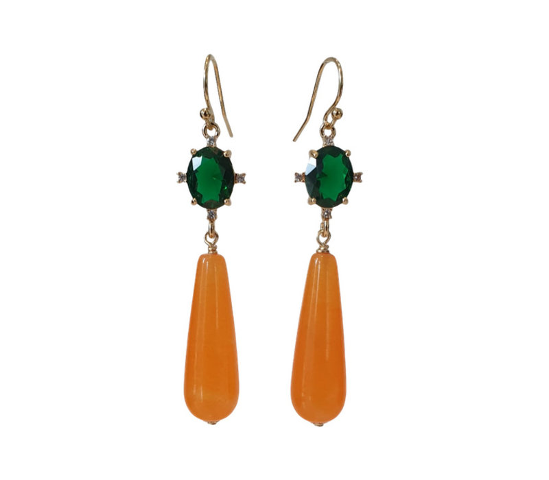Earring with Crystal and Agate