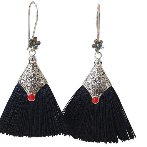 Silver, black earring