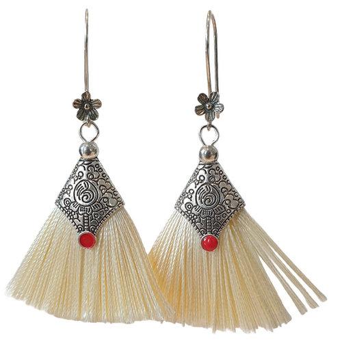 Silver, white earring