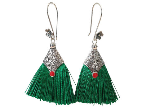 TREND COLLECTION Silver, green earring