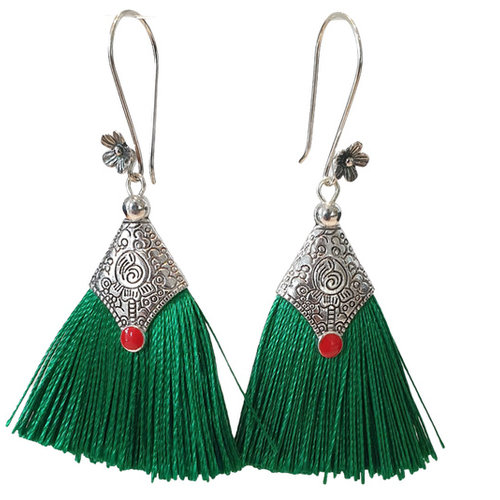 Silver, green earring