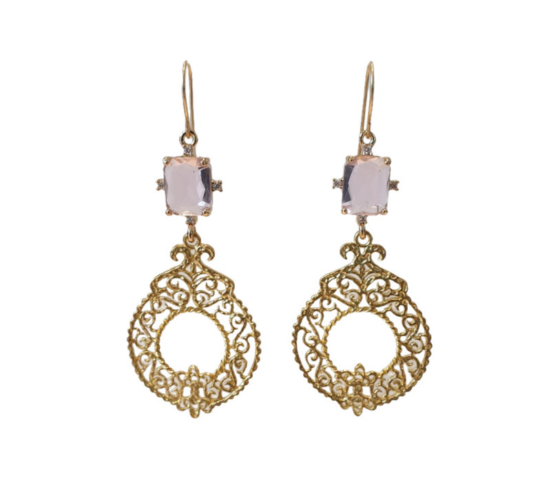 Earrings with Bras and Crystal