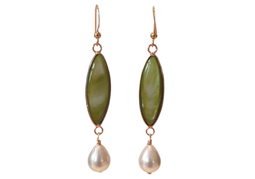 TREND COLLECTION Green, White Earring