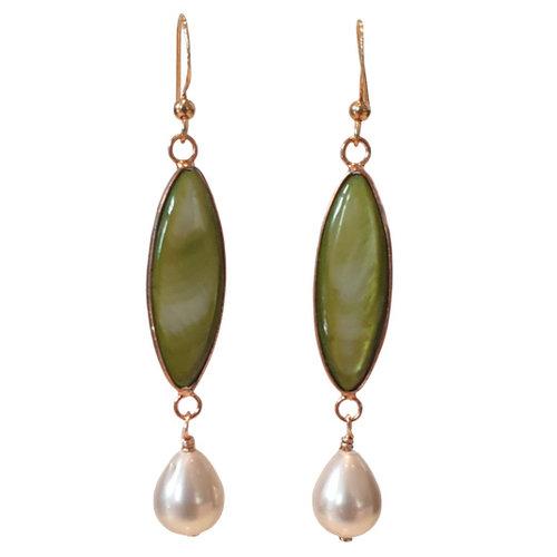Green, White Earring