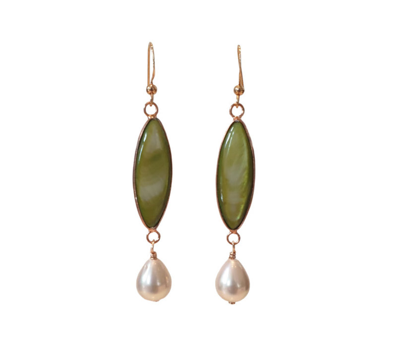 Earrings with Mother of Pearl and Pearl
