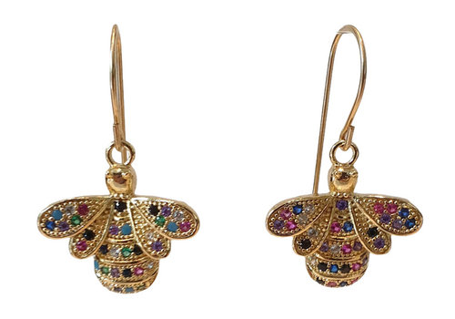 TREND COLLECTION Gold earring with colorful bee