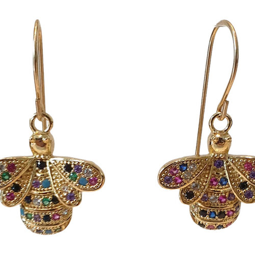 Gold earring with colorful bee