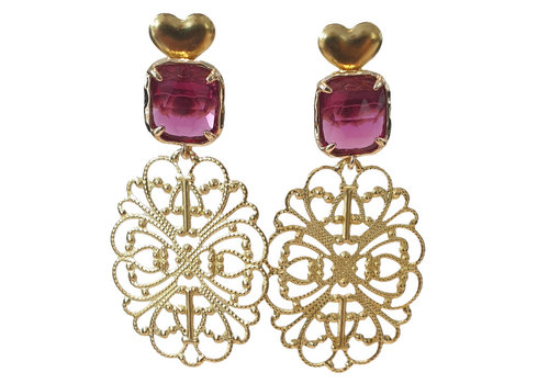 TREND COLLECTION Gold, Purple Earring