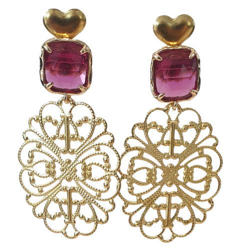 Gold, Purple Earring
