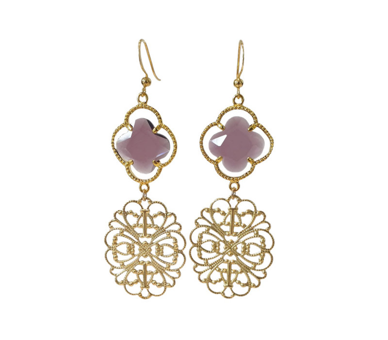Earrings with Crystal and Bras