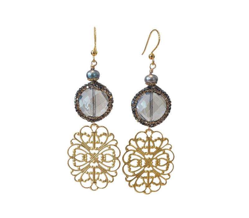 Earrings with Pearl, Crystal, Marcasite and Bras