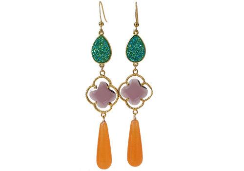 TREND COLLECTION Green, Purple, orange earrings