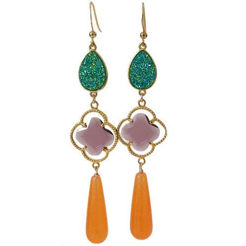 Green, Purple, orange earrings