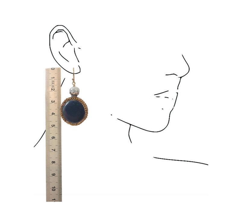 Earrings with Coated Aquamarine, Hematite and Markasite