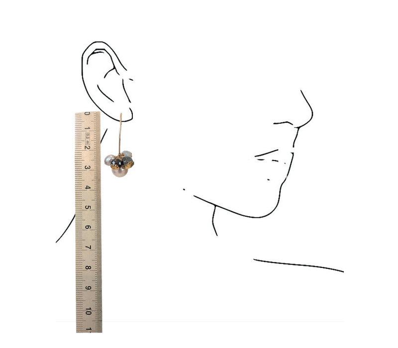 Oorbellen met Parel, Hematiet, Opaliet en Spinel