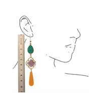 Earring with Geode, Crystal and Agate
