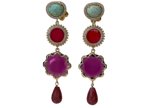 CLASSIC COLLECTION Green, Purple, Pink Earring