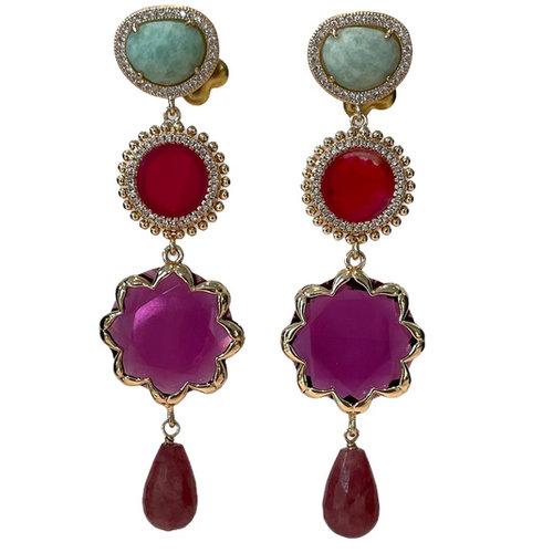 Green, Purple, Pink Earring