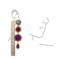 Earrings with Amazonite, Agate, Crystal and Agate