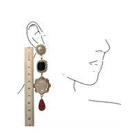 Earrings with Imitation Pearl, Agate, Crystal and Agate